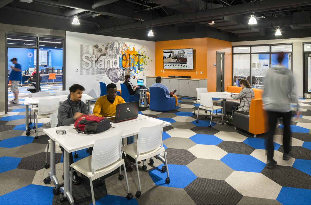 Students expect that changes will be made to high-traffic areas, like this space in the Shawnee State University Health Sciences/STEMM Facility.