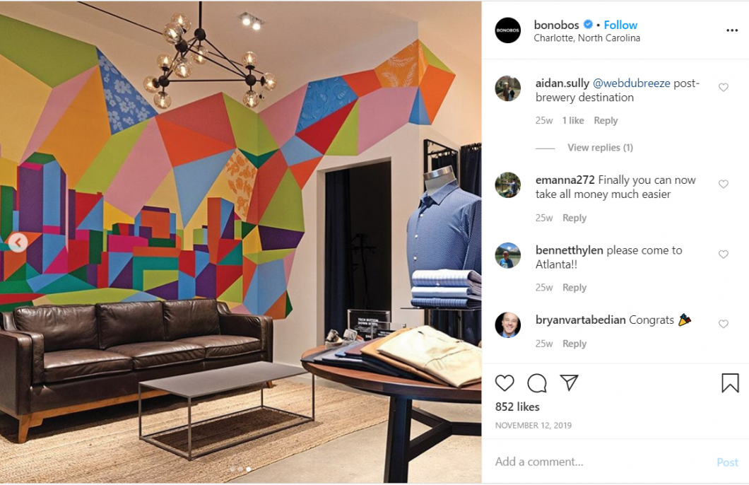 The announcement of a Bonobos store opening (pictured above) garnered hundreds of likes and comments.