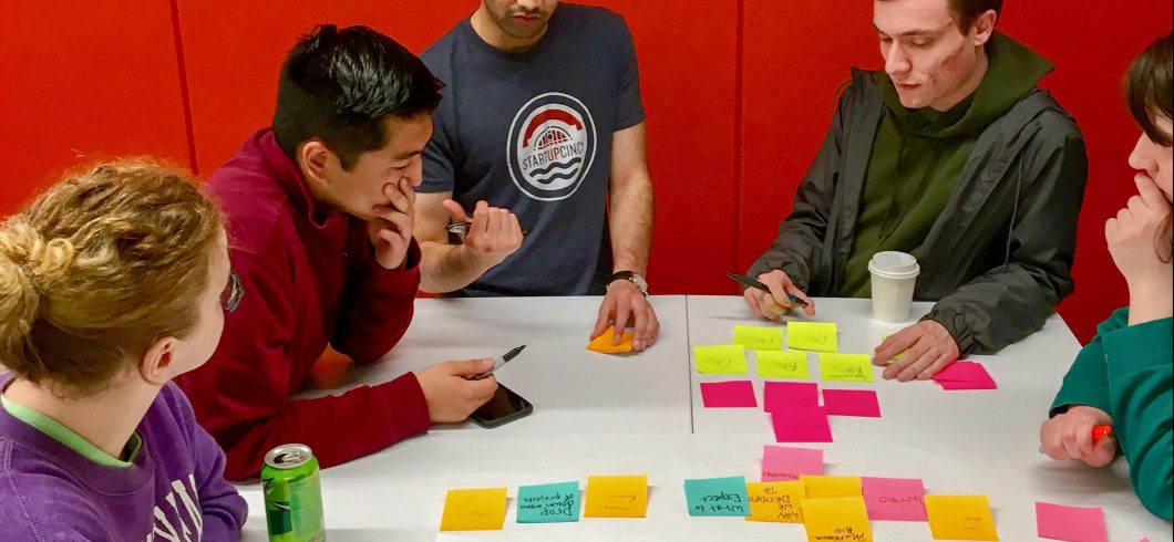 Students use collaborative design thinking exercises to generate and organize new ideas.