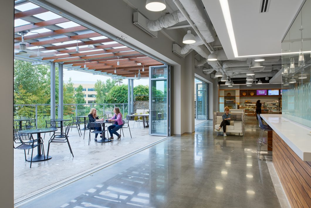 Combined indoor and outdoor space can promote occupant happiness and productivity.