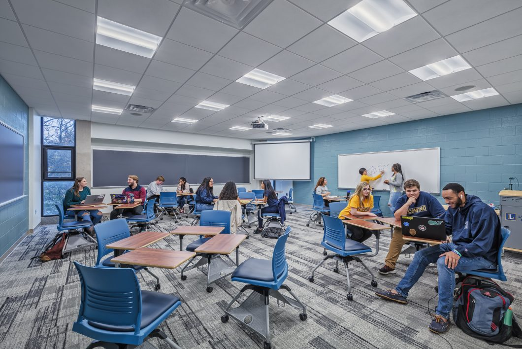 Lycoming College's Academic Center consists of administrative, classroom, and lecture hall space on multiple floors and is one of the most popular buildings for collaborative learning.