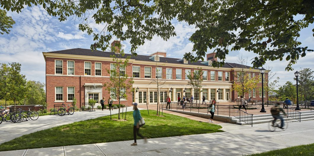 """Since its opening in the spring of 2014, the Armstrong Student Center has become the central """"student hub"""" on Miami University's Oxford, Ohio, campus."""