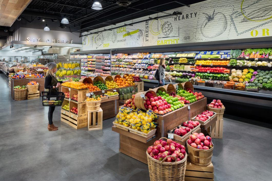 fruits and vegetables aisle at the grocery store