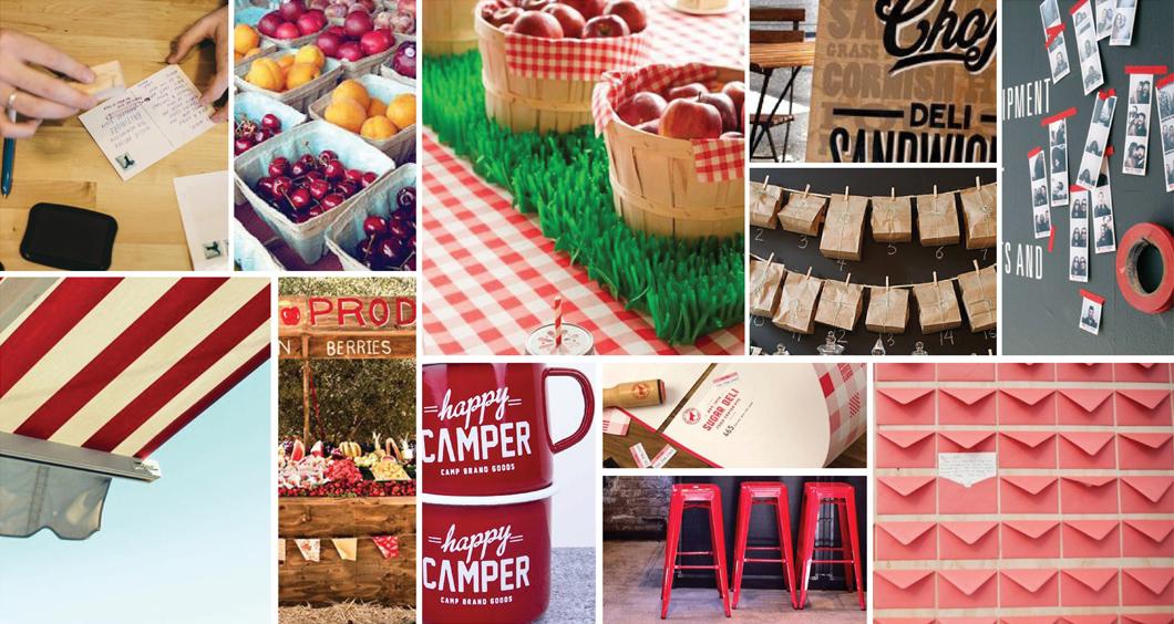 red farmers market inspired mood board