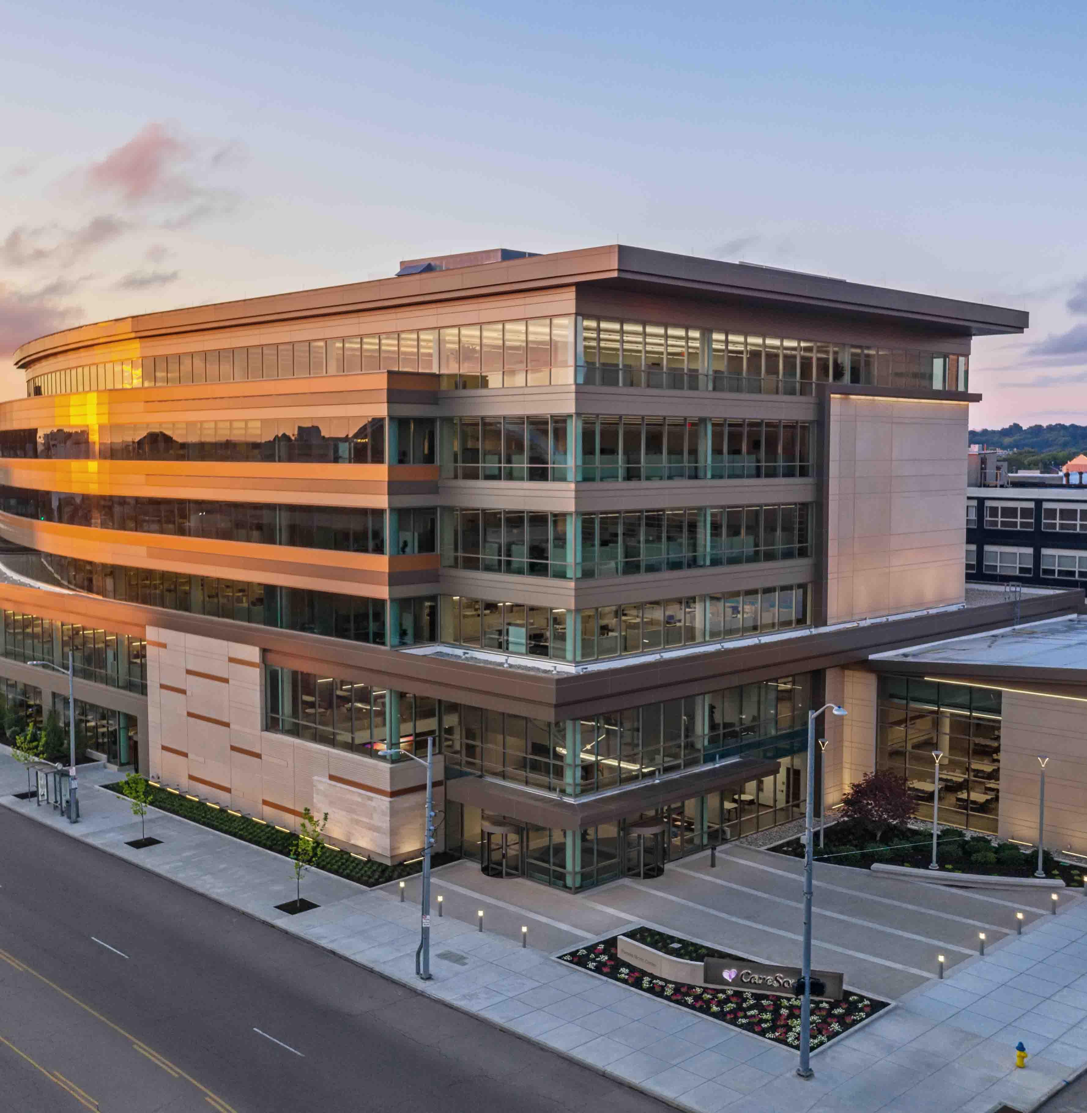Exterior Pamela Morris Center for CareSource at dawn in Dayton, OH