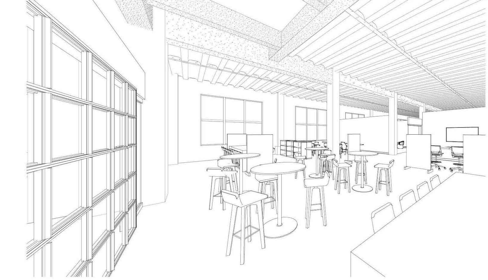 Sketch of Schaefer's lounge area