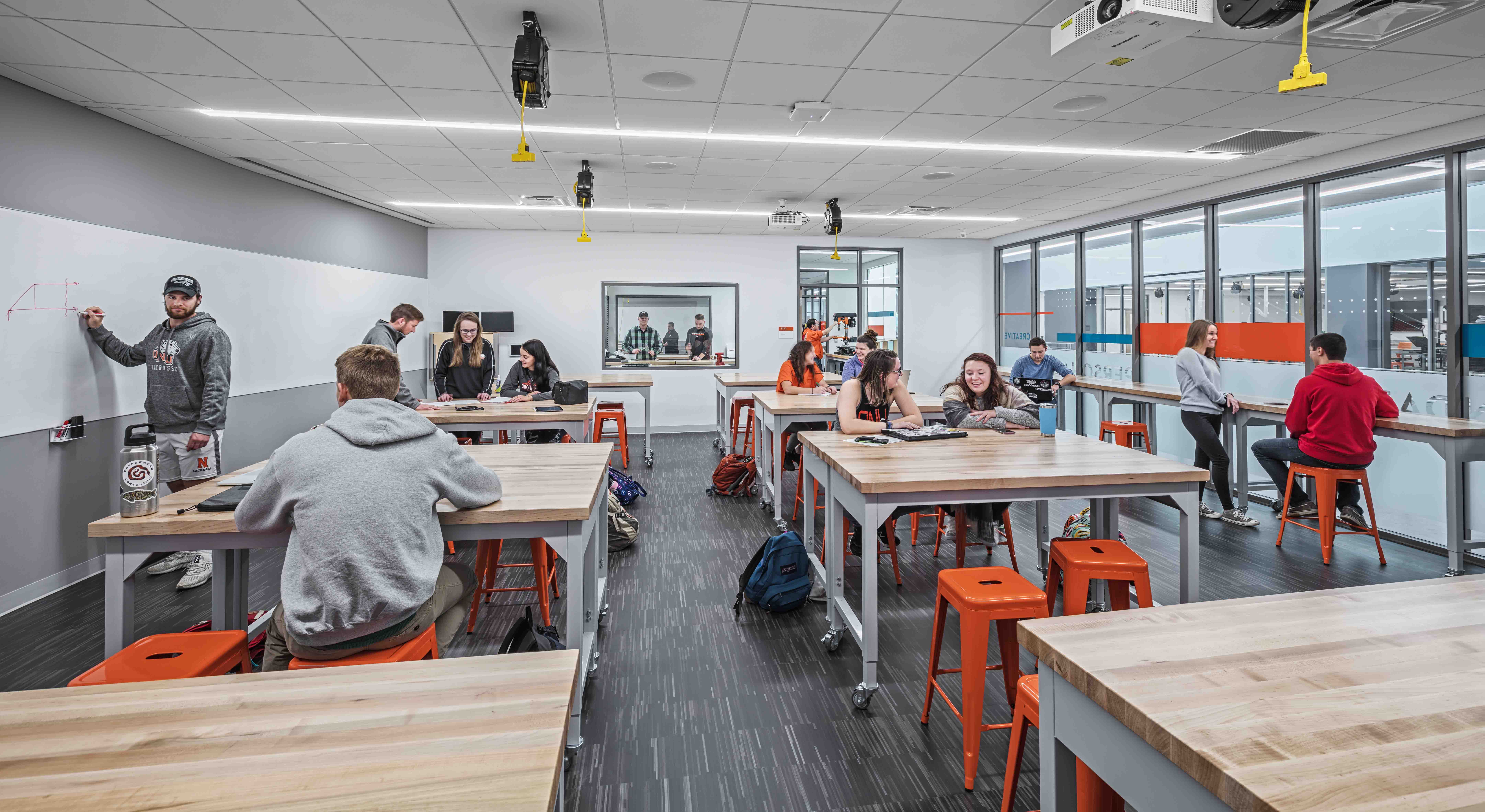 Students interacting in a classroom at Ohio Northern University