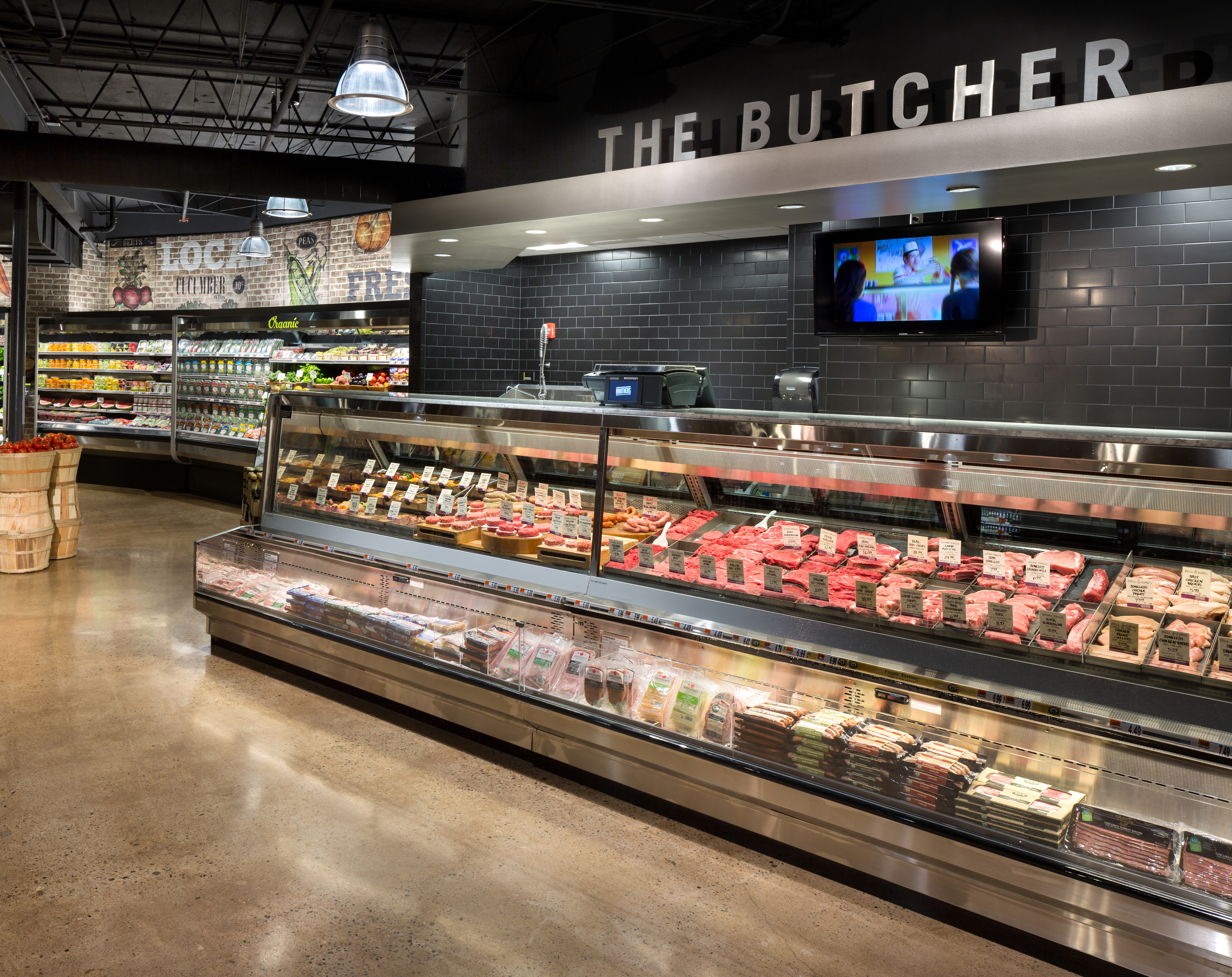 The butcher counter at Brothers Marketplace in Medfield, MA