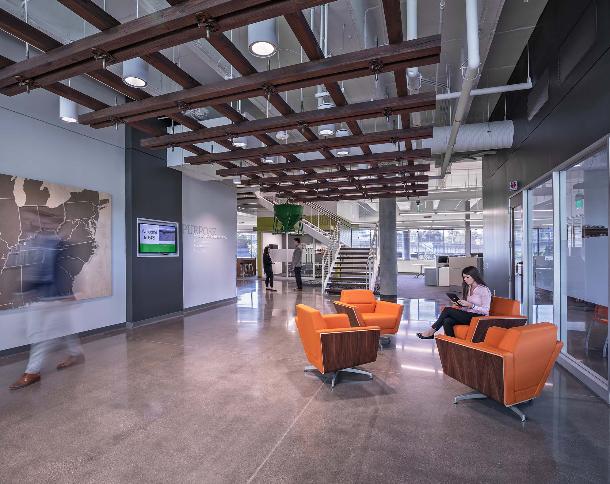 Comfortable seating is shown on Messer's first floor