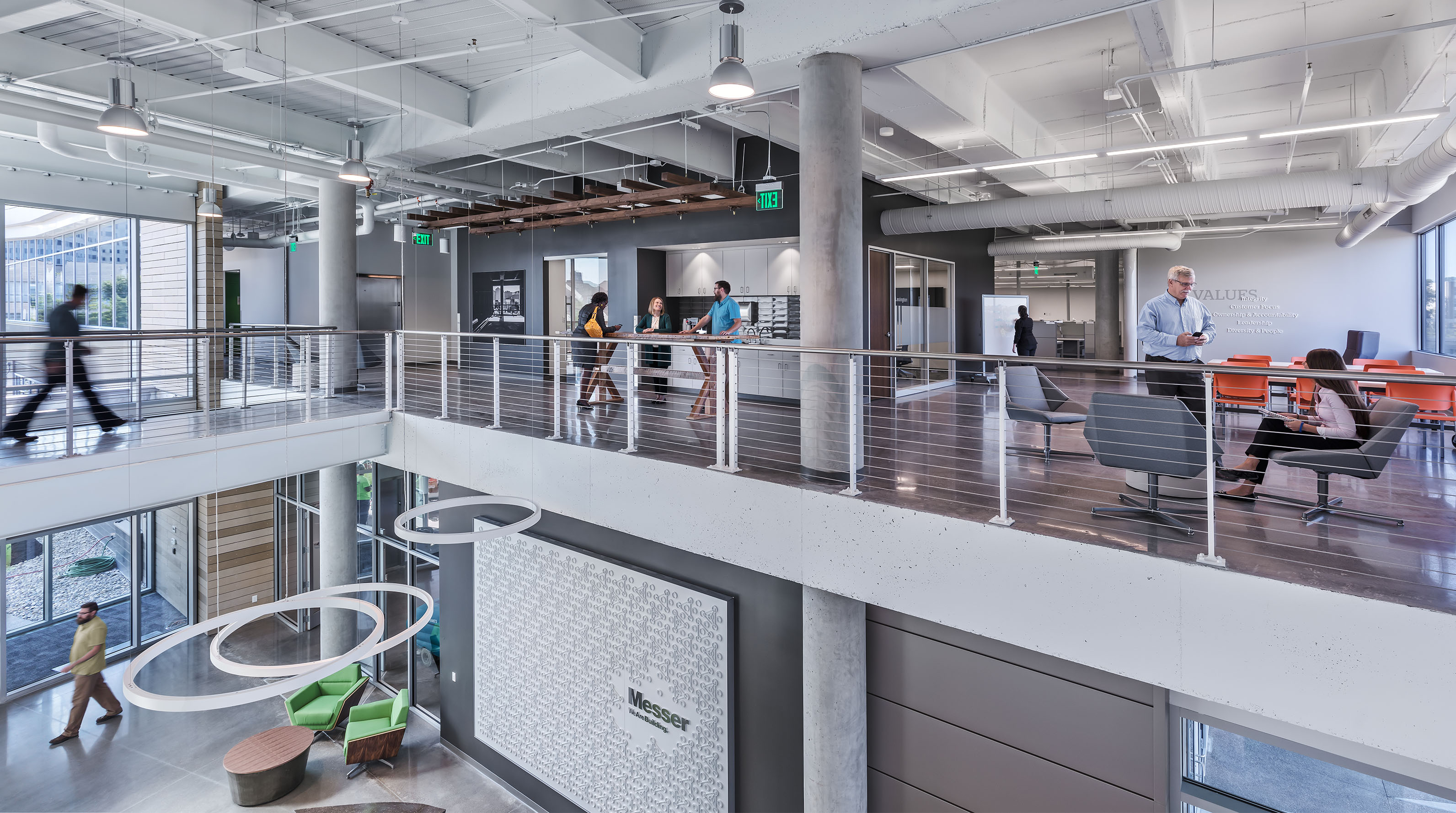 Messer's two-level open office