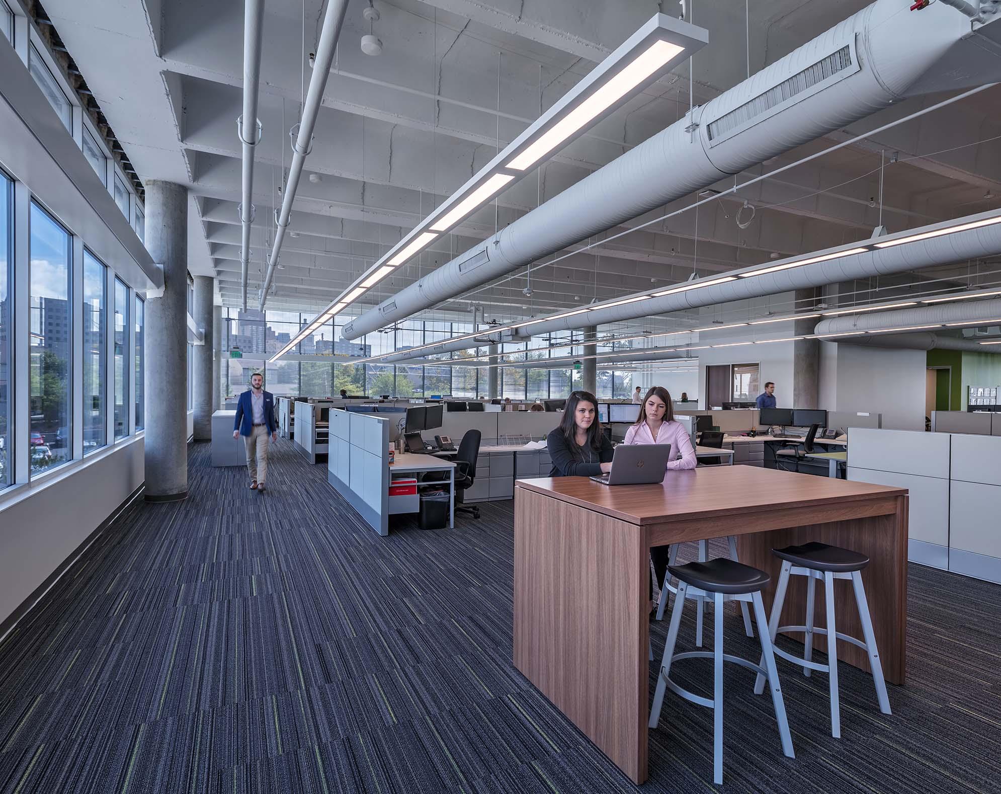 Inside Messer's open office area