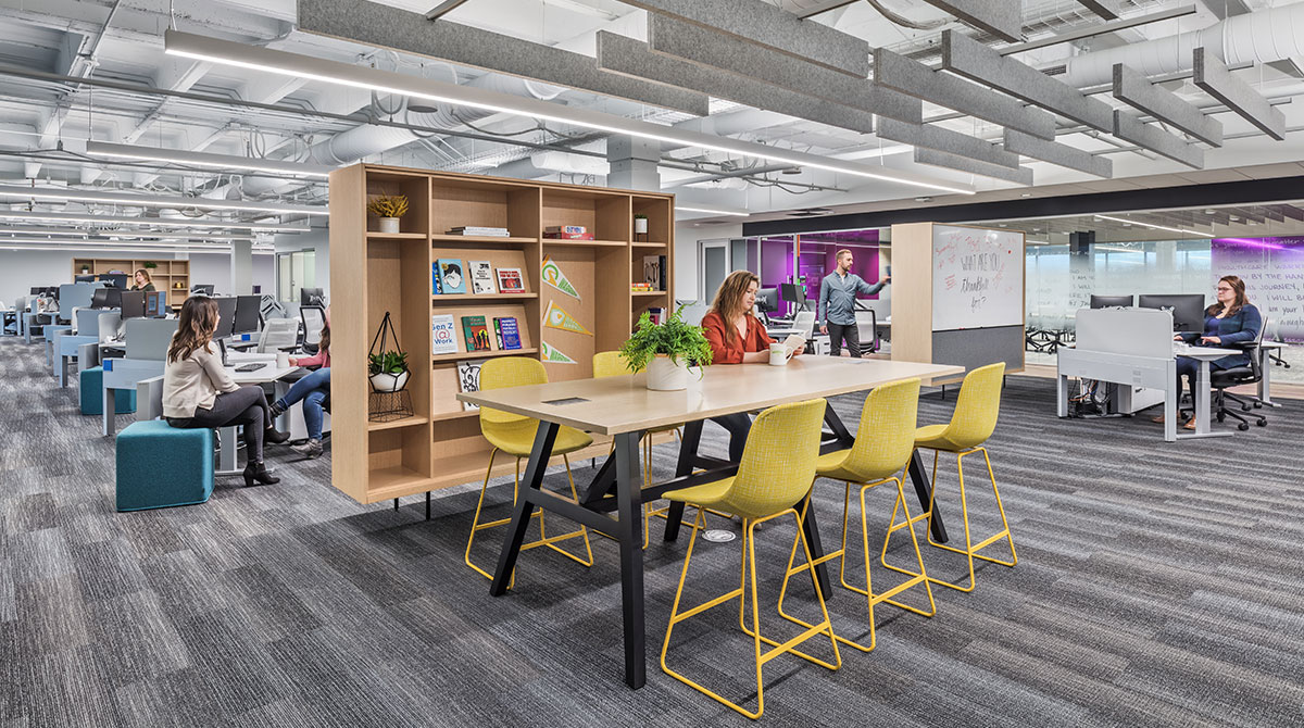 Quantum Health's open office and different collaboration areas