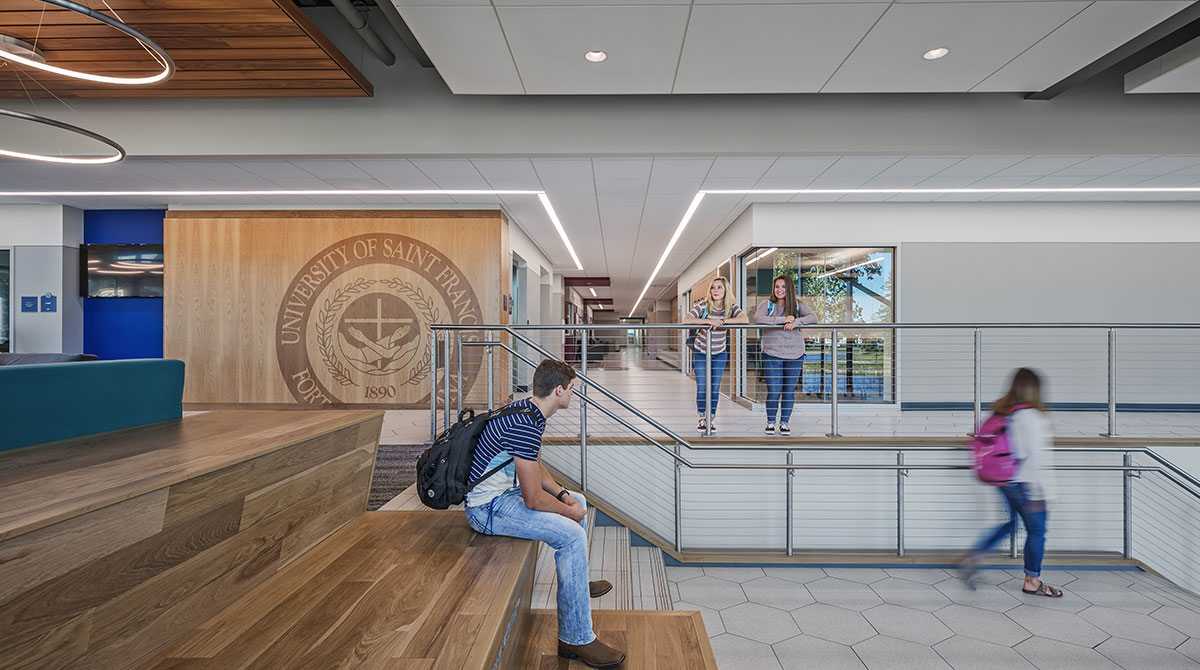 University of St. Francis students use the large feature stair