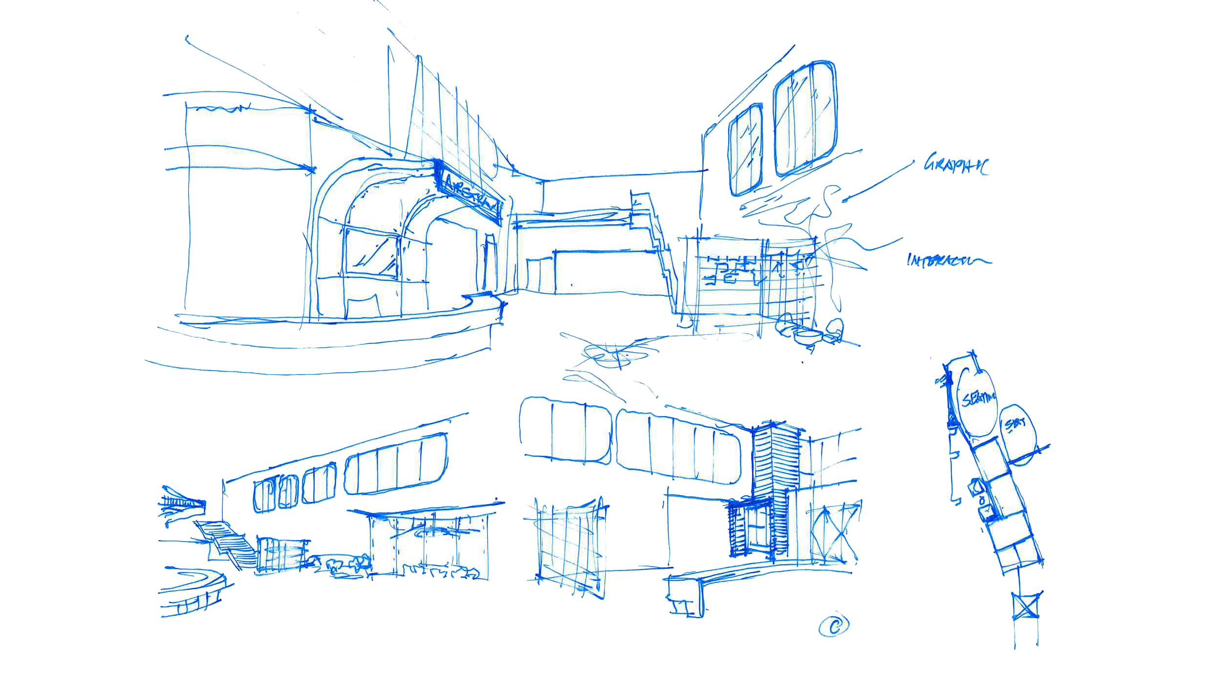 Sketches of Airstream's new lobby