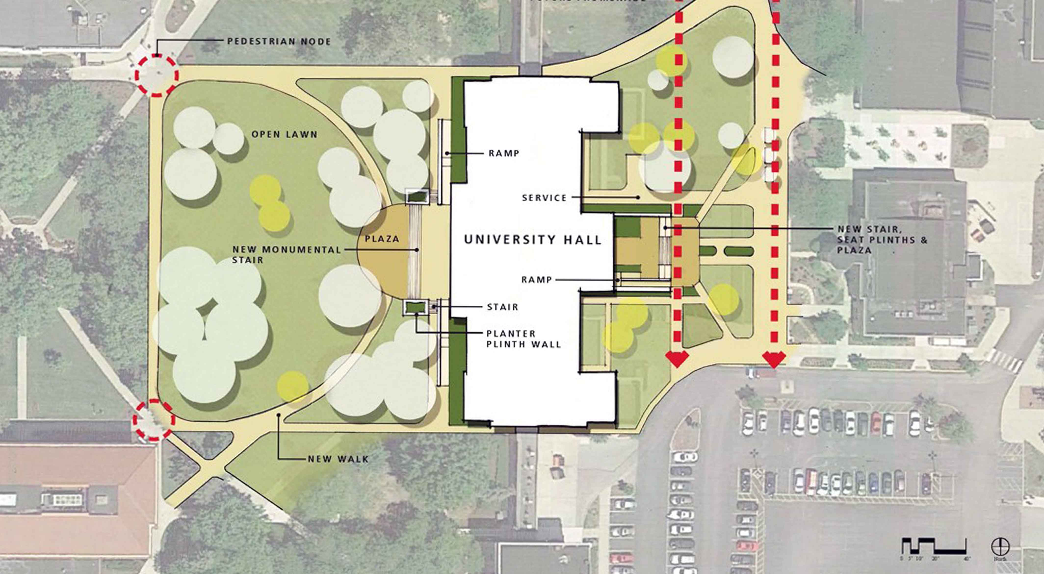 A diagram maps out a university's current facilities