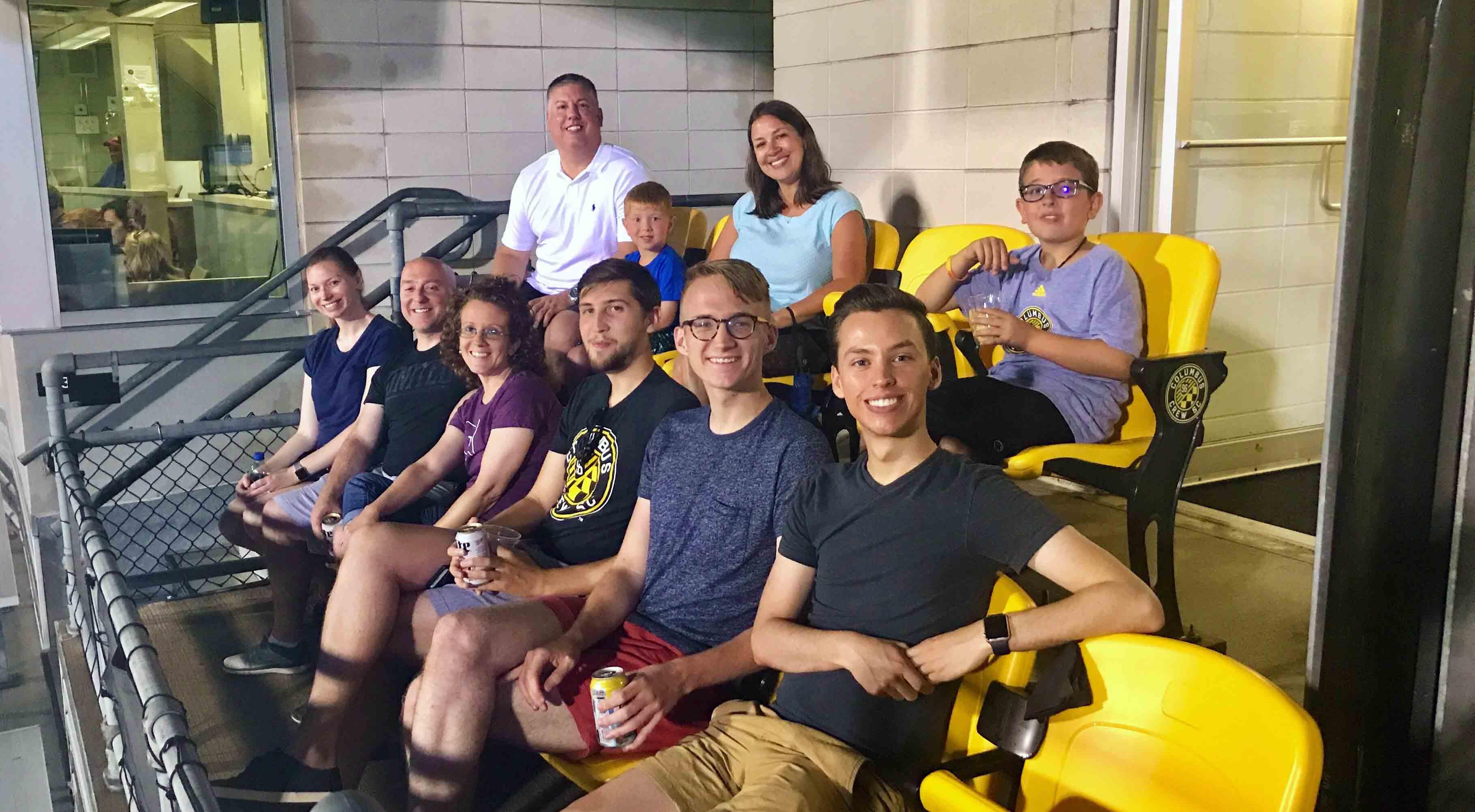 People sitting at the Columbus Crew stadium