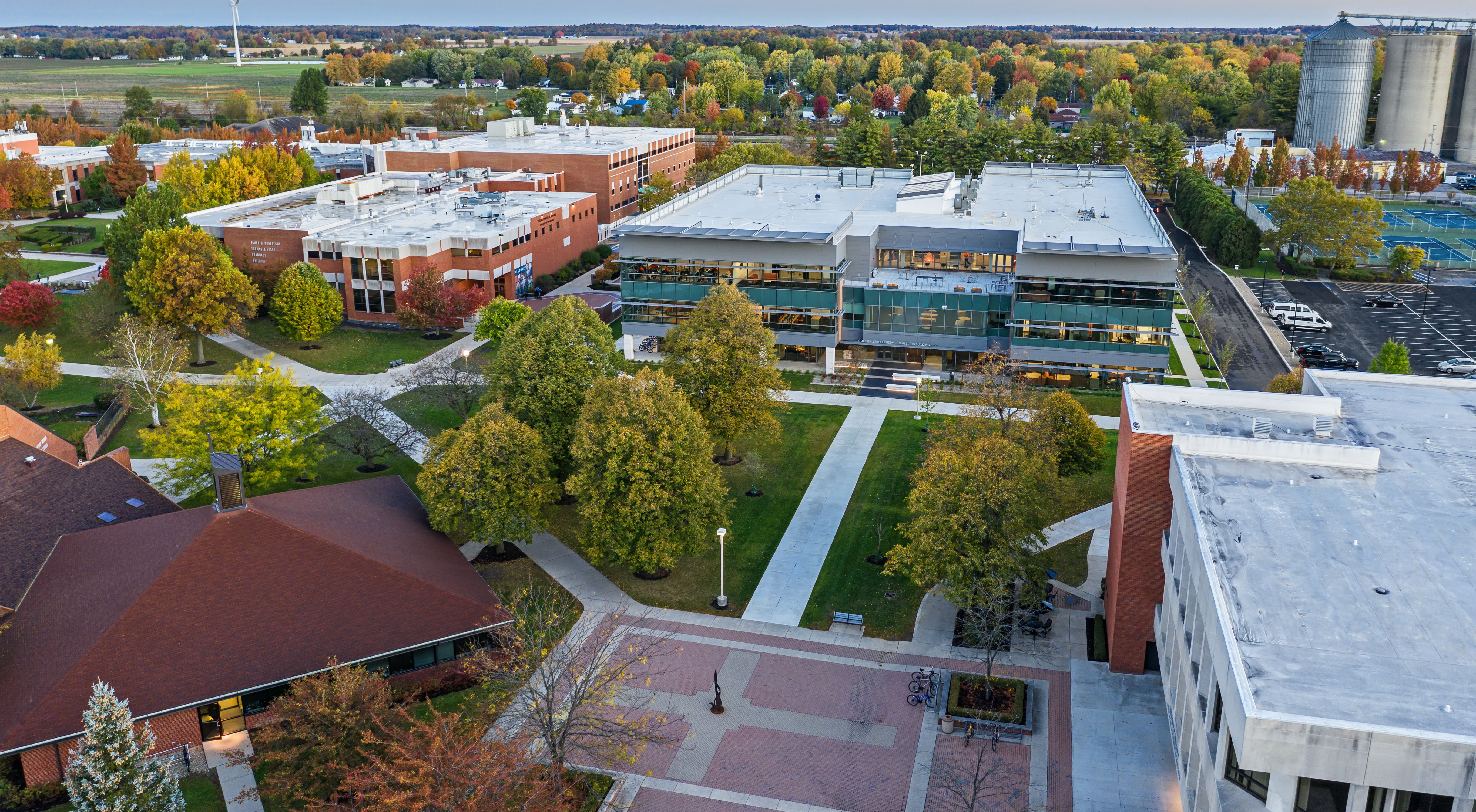 An aerial view of the engineering building's location on campus