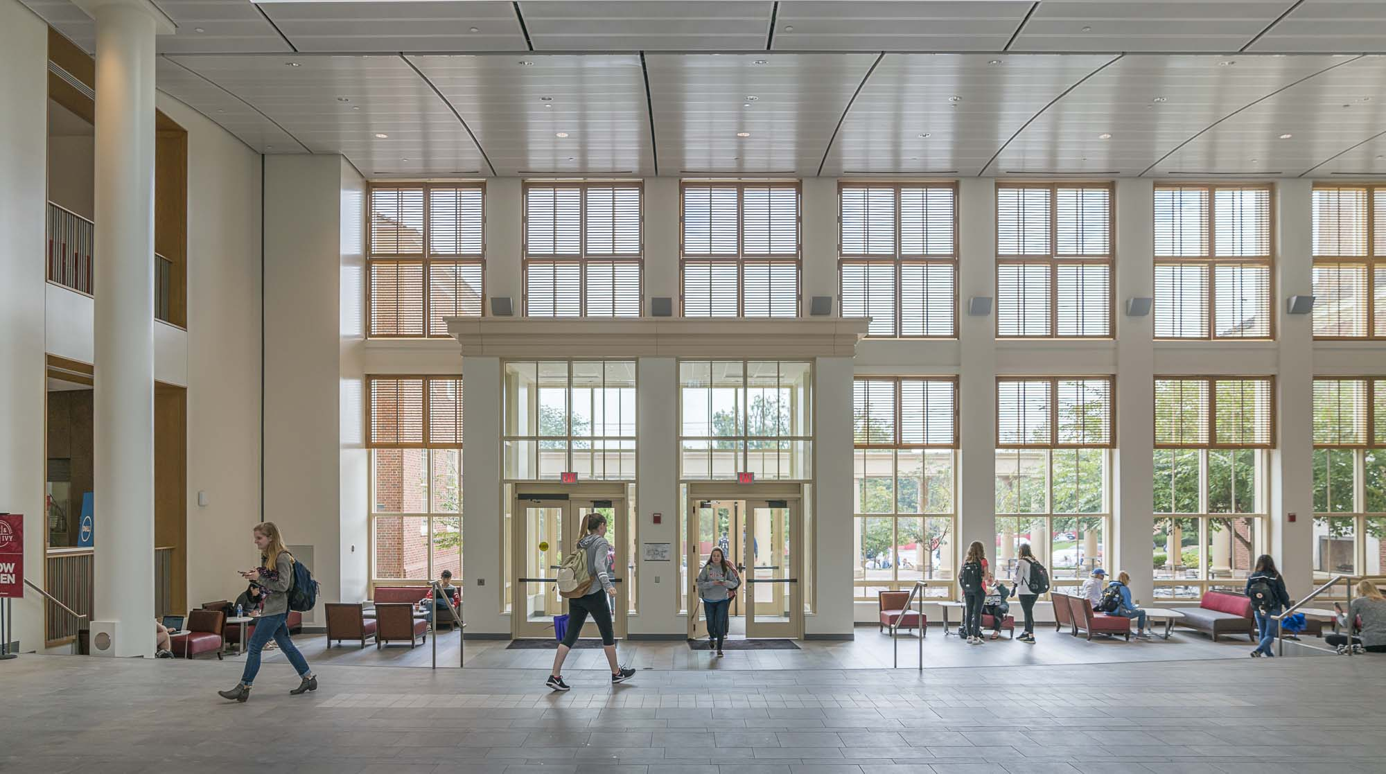 Two floors of windows at the Armstrong Student Center East Wing entrance
