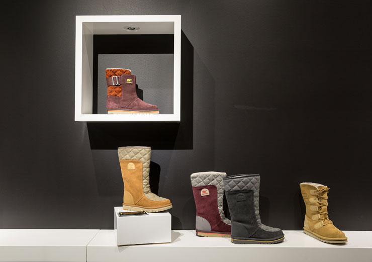 shoes on display at Sorel store in NYC