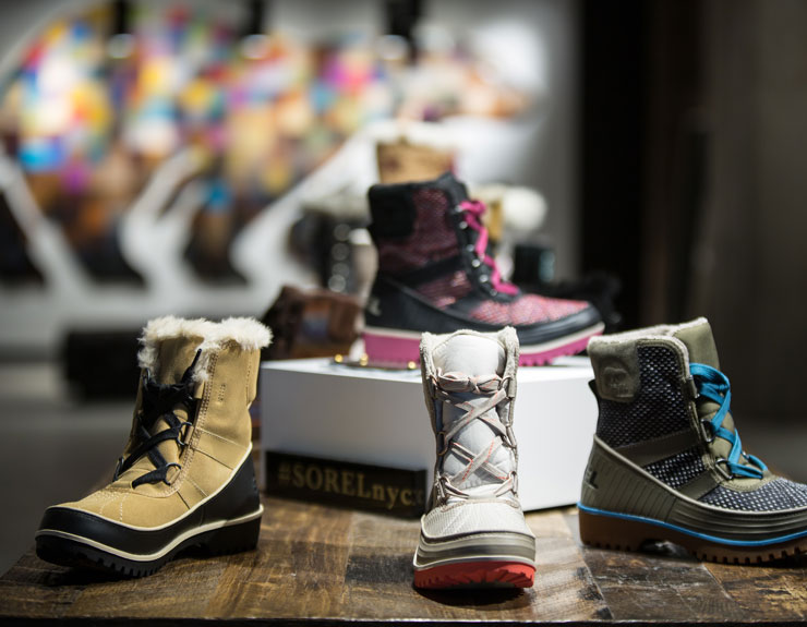 shoes on display at Sorel in NYC