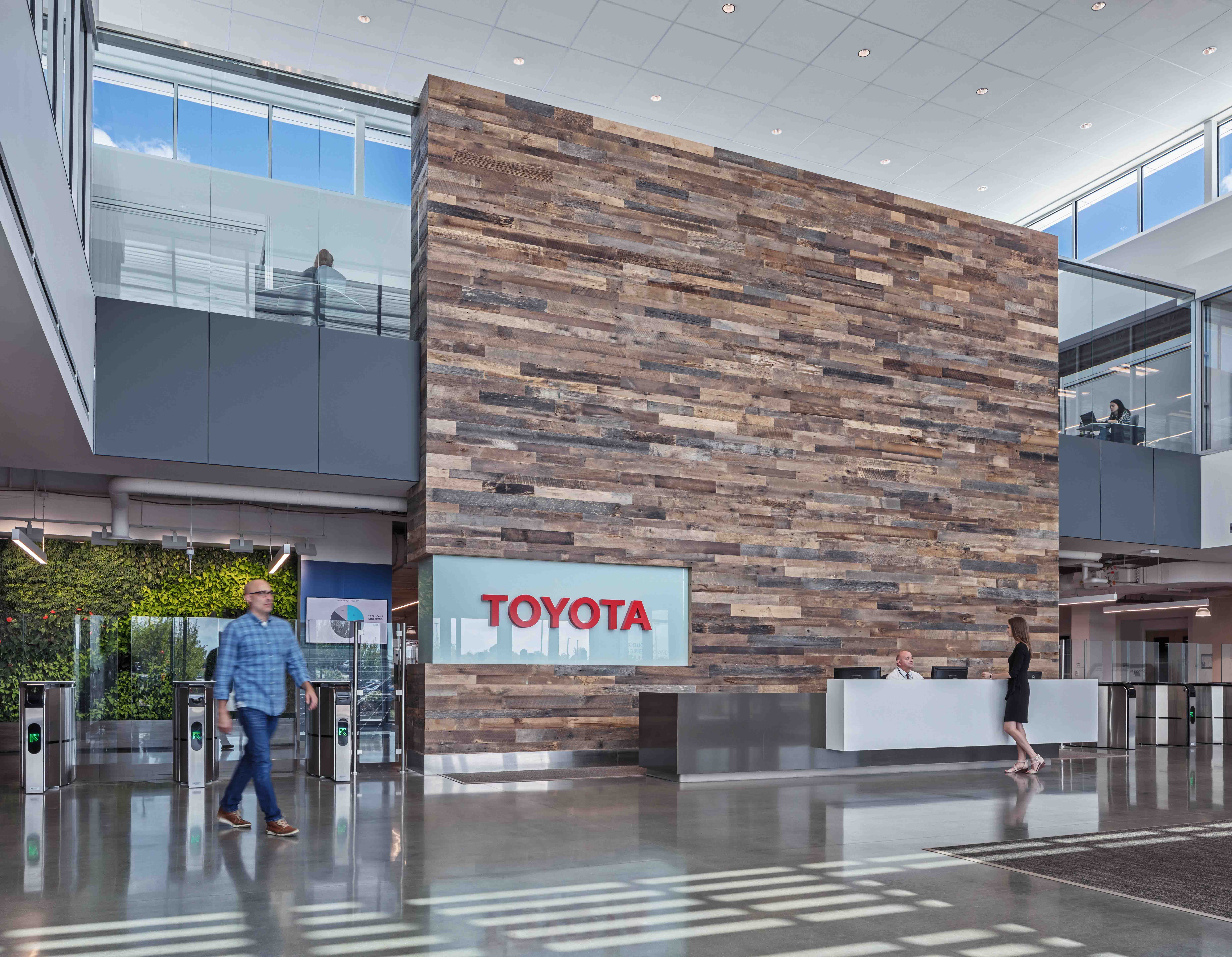 Man walking through the reception area of Toyota Georgetown Facility