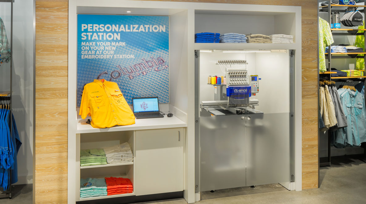 Personalization and embroidery station at Columbia store in Disney Springs, FL