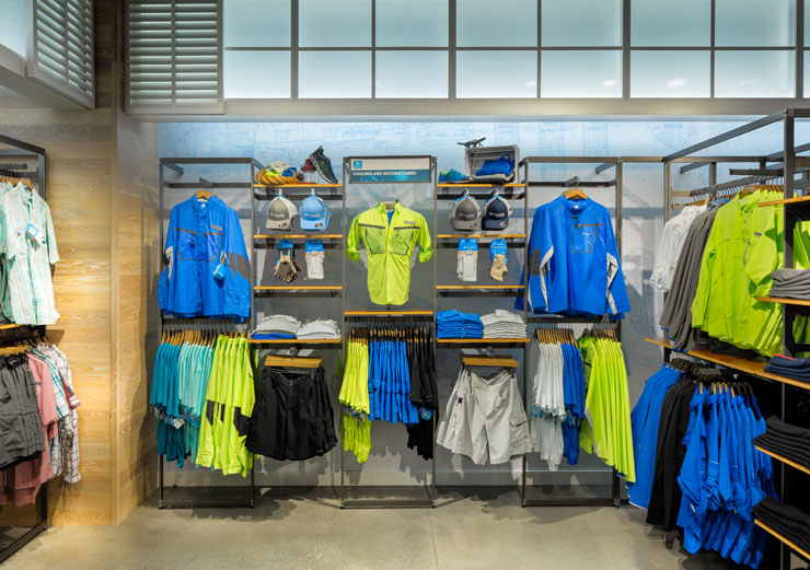 Clothes on display at Columbia Sportswear in Disney Springs, FL