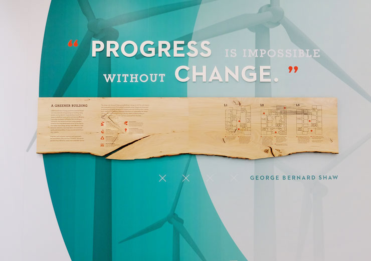 """""""Progress is impossible without change."""" quote written on wall at Ohio Northern University"""