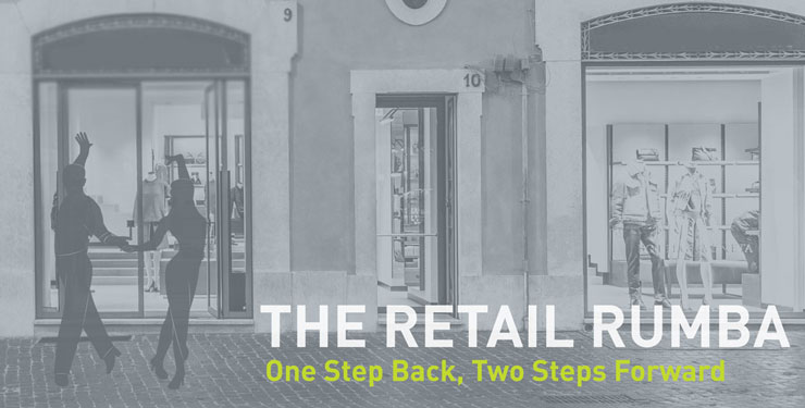 """Two dancer silhouettes with the words """"the retail rumba: one step back, two steps forward."""""""