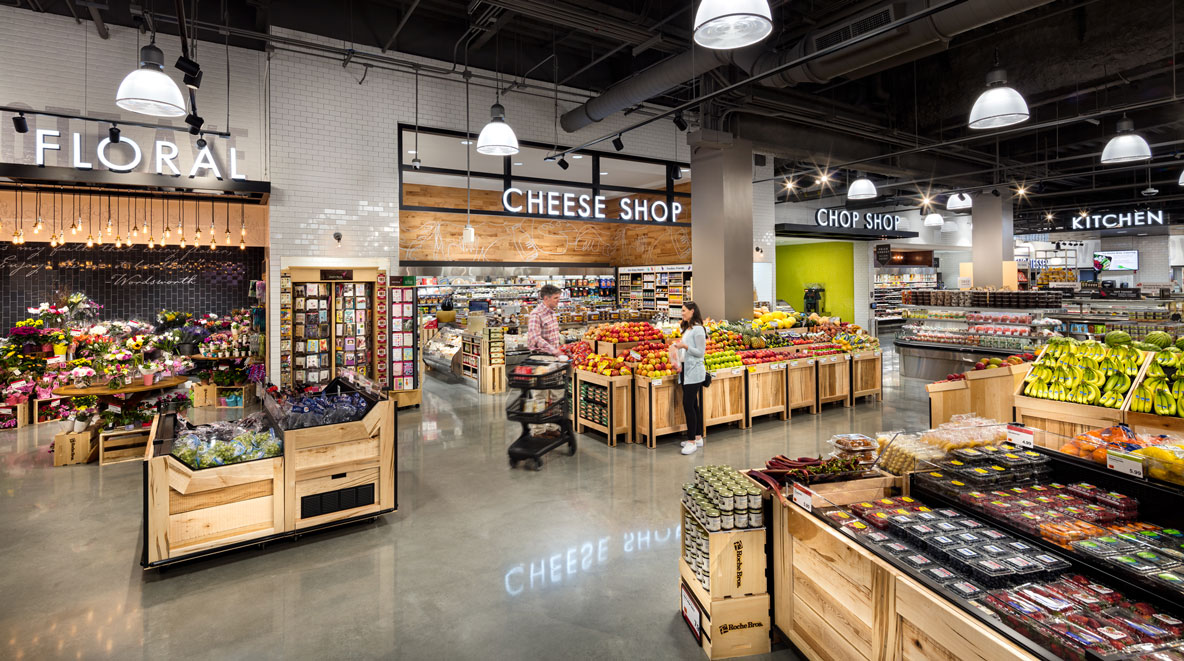 Roche Bros. Arsenal Yards location interior with shoppers