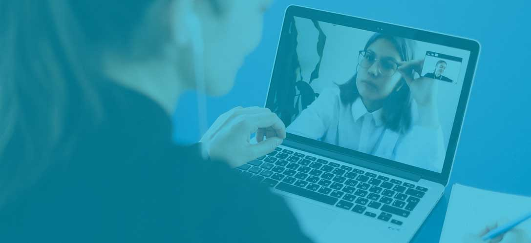 Two women chatting on a video call