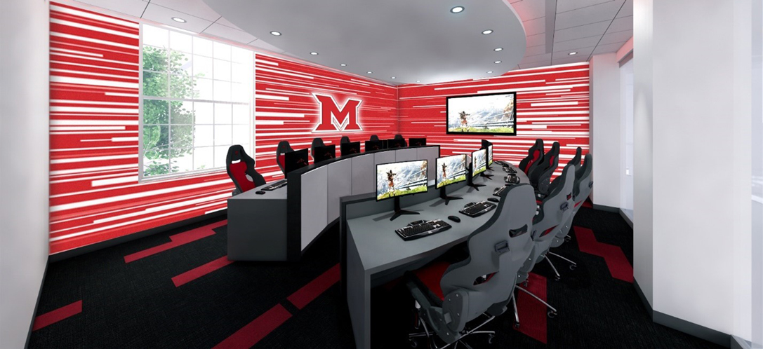 A rendering of a new gaming suite at Miami University