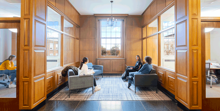 Students study inside Denison University's Doane Library & Mudd Learning Center
