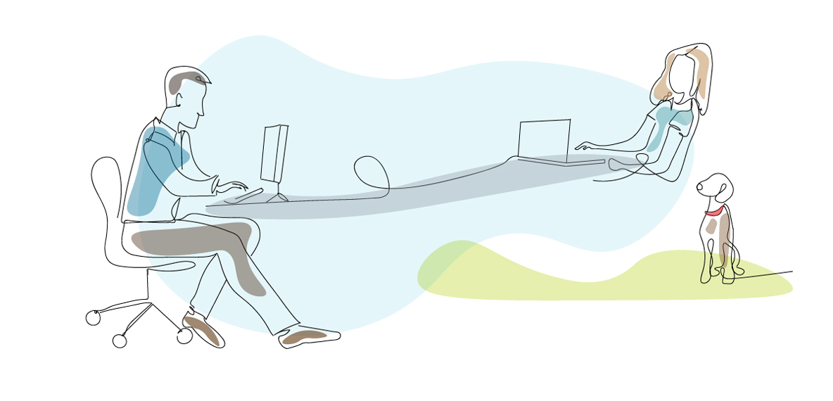 A line drawing shows a man in the office connected to a woman working at home with a dog by her side