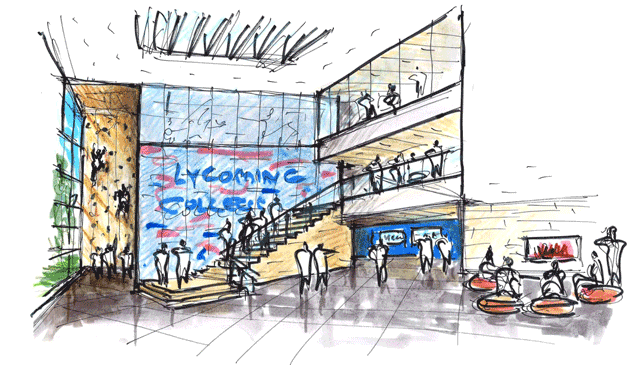 Lycoming College sketch of the atrium