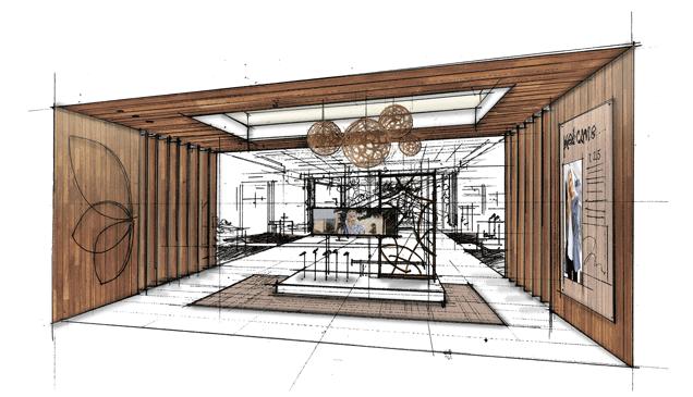 Sketch of modern foyer