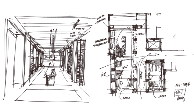 Sketch of the Miami Armstrong cafe