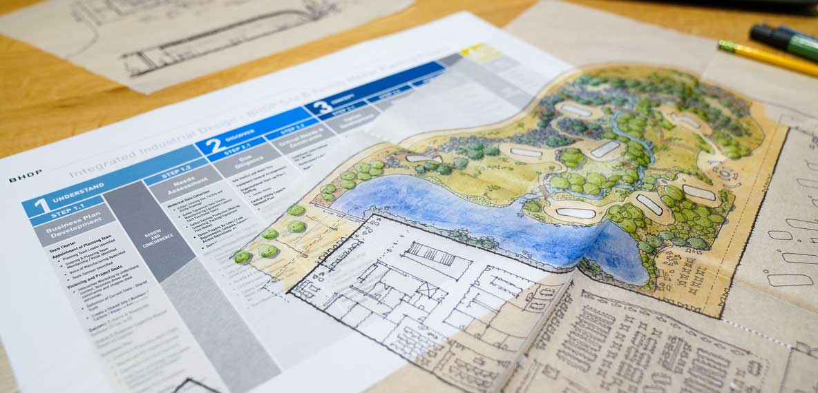 Site and Facility Master Planning documents laid out on a table