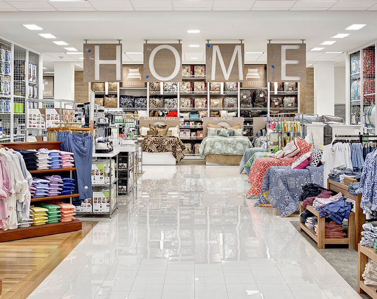 """The Home area at Belk features a hanging """"Home"""" sign"""