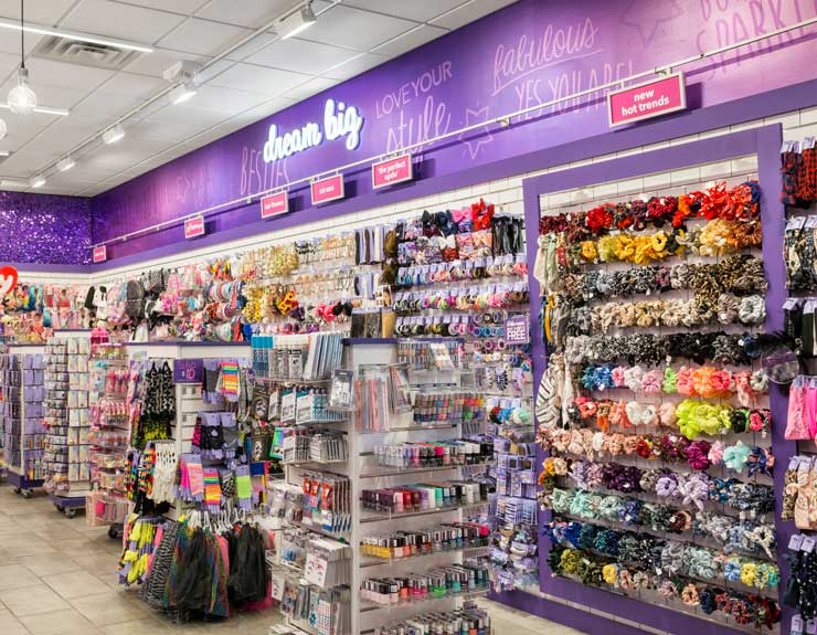 Accessories wall at Claire's