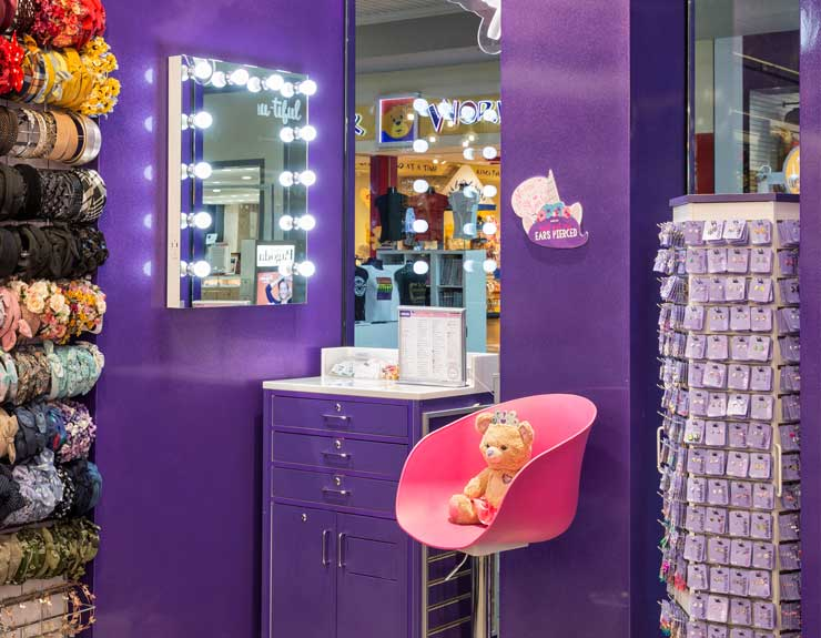Ear piercing station is illuminated with bright lights