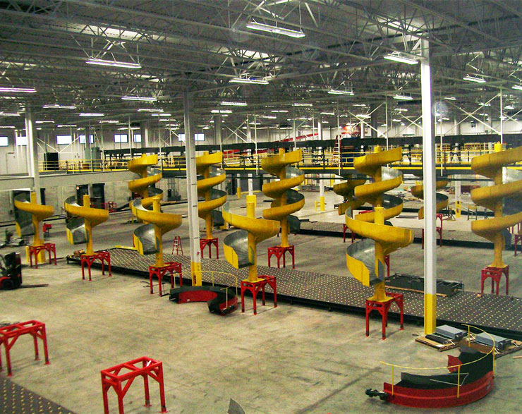Machinery inside the distribution center