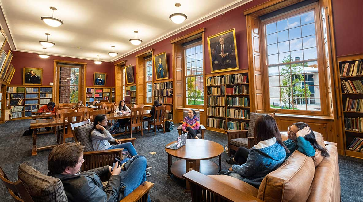 Group of students study together in the common area