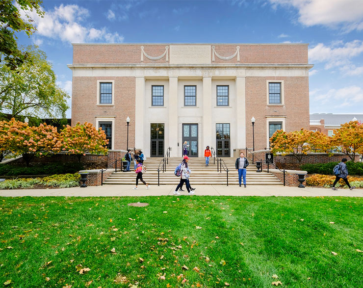 Students are shown entering and leaving the Doane Library