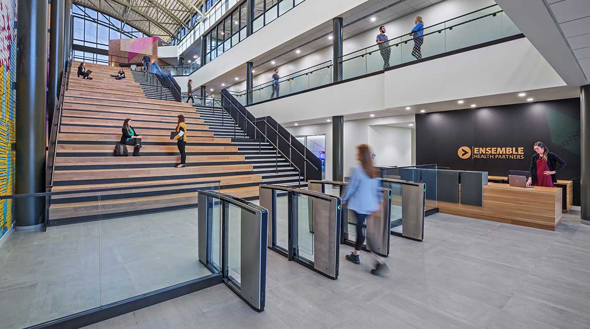 Dramatic staircase inside Ensemble's visitor's entrance