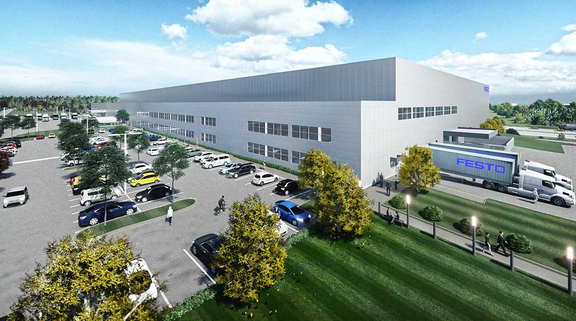 Angled view of the new FESTO facility