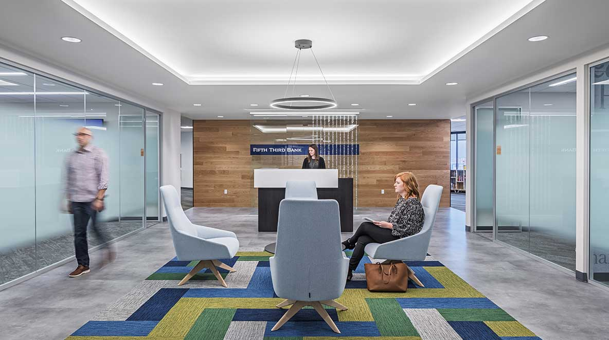 Reception desk at Fifth Third Bank