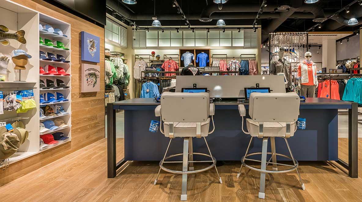 Kiosks inside the Columbia store