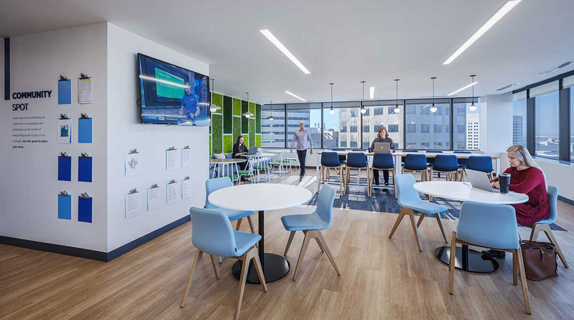 Employees work in the collaboration space inside Fifth Third Bank