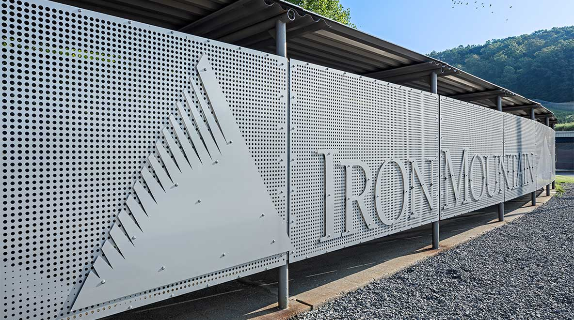Iron Mountain's logo is visible on the exterior of the walkway